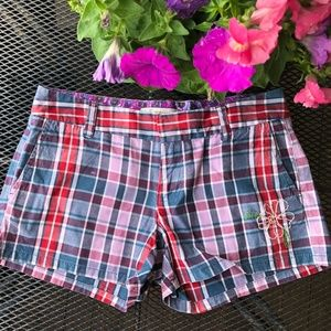 Old Navy Plaid Shorts W/embroidery detail Size 2
